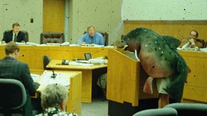 Sorax ghost of coho salmon photo in courtroom